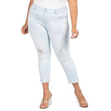 YMI Jeans Juniors' Plus Size Roll-Cuff Destructed Jean