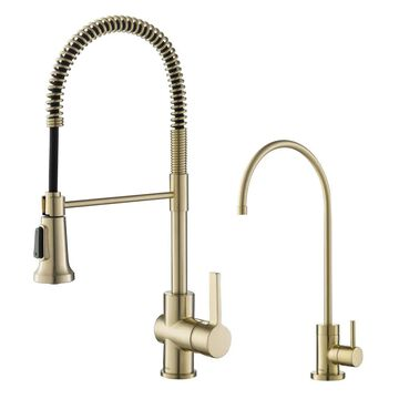 Kraus Brushed Gold Cold Water Dispenser with Hi-Arc Spout Stainless Steel | KPF-1690-FF-100BG