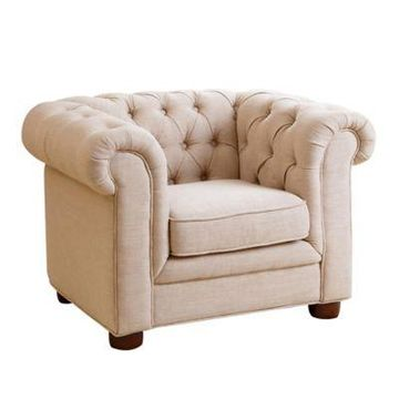 Abbyson Living RJ Mini Chesterfield Armchair in Wheat