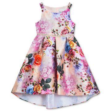 Little Girls Floral-Print Hi-Low Dress