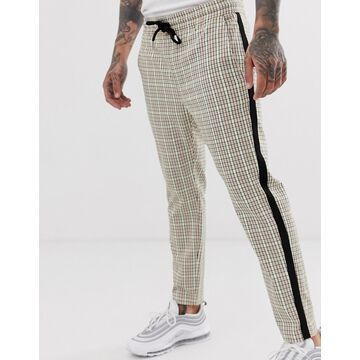 Only & Sons check side stripe pants in sand-Tan