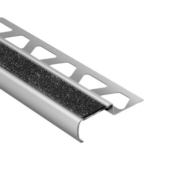 Schluter Systems Trep-G-B 0.344-in W x 98.5-in L Black Steel Stair Nose Tile Edge Trim Stainless Steel   GBEB90GS