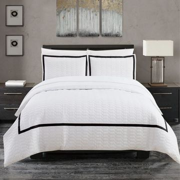 Chic Home Krystel Hotel Collection Black and White Banded Print Duvet Cover Set (Queen)