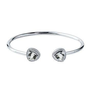 Auriya 3 3/4ct Trillian-Cut White Topaz Gold over Silver Bangle Bracelet with Diamond Accents (White)
