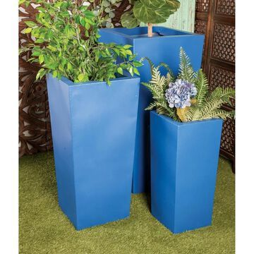 Set of 3 Modern Tall Square Blue Metal Planters by Studio 350