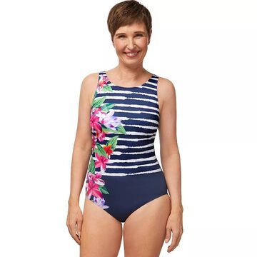 Women's Amoena Striped-Floral UPF 50 One-Piece Swimsuit, Size: 12C, Blue