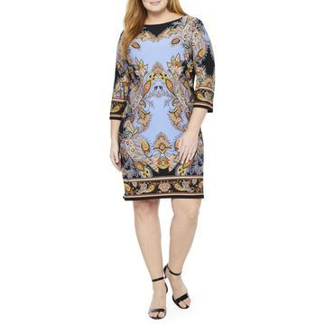London Times 3/4 Sleeve Paisley Shift Dress- Plus