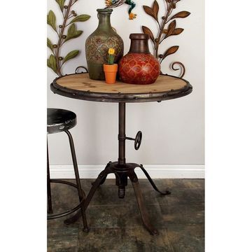 Industrial 30 x 30 Inch Riveted Iron and Wood Table by Studio 350 (Accent Table)