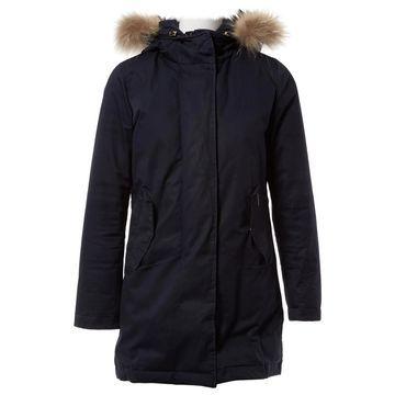 Woolrich Navy Raccoon Coats
