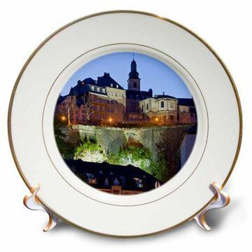3dRose Luxembourg, Luxembourg City. Grund, Alzette River - EU40 WBI0035 - Walter Bibikow - Porcelain Plate, 8-inch
