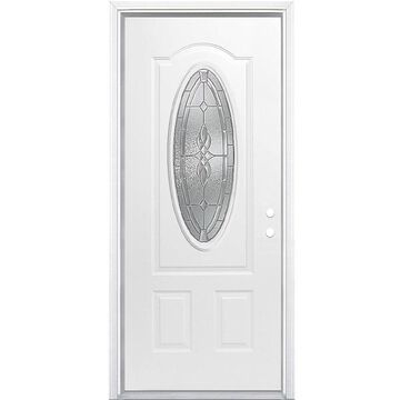 Masonite Hampton 32-in x 80-in Steel Oval Lite Left-Hand Inswing Primed Prehung Single Front Door with Brickmould in White   741025