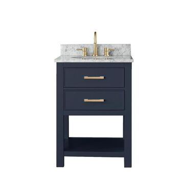 Avanity Brooks 25-in Navy Blue Single Sink Bathroom Vanity with Carrara White Natural Marble Top