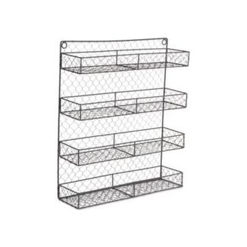 Design Imports Double Wide 4 Row Chicken Wire Spice Rack