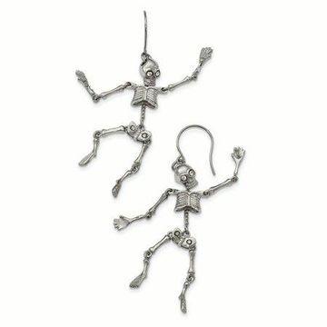 Primal Steel Stainless Steel Polished With Crystal Shepherd Hook Skeleton Earrings