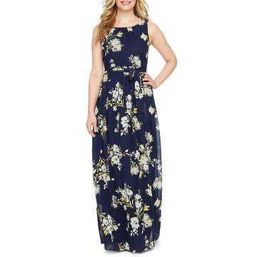 Jessica Howard Sleeveless Floral Maxi Dress-Petite