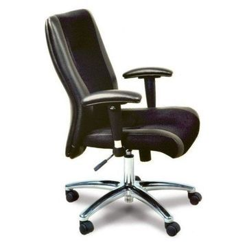 Mayline Mercado Black Leather-Mesh Combo Conference Office Chair