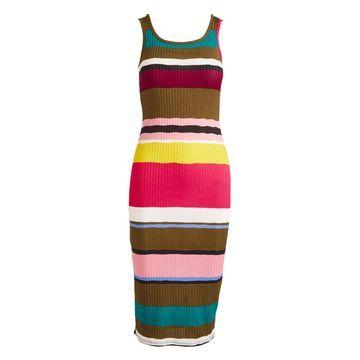 Derek Heart Women's Casual Dresses Katamala - Pink & Katamala Olive Stripe Sleeveless Bodycon Dress - Juniors