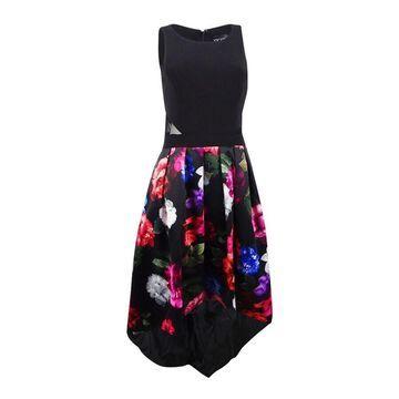 Xscape Women's Floral-Print A-line Dress (4, Black Multi)