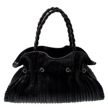Bvlgari Black Leather Twistino Tina Tote