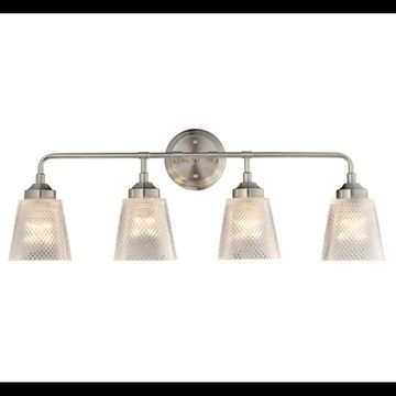 "Varaluz 312B04 Westport 29"" Bathroom Light with Recycled Waffle Glass Shade Brushed Nickel Indoor Lighting Bathroom Fixtures Vanity Light"