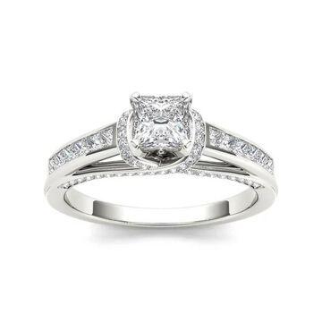 De Couer 14k White Gold 1ct TDW Princess-cut White Diamond Ring