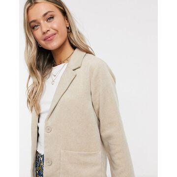 Monki Winnie pocket front blazer jacket in beige