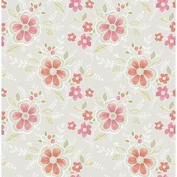 Brewster 2657-22202 Chloe Peach Floral Wallpaper