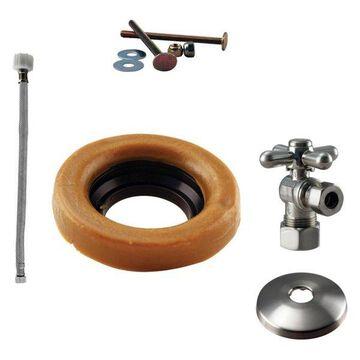 Toilet Kit w/ 1/4-Turn Stop & Wax Ring - Cross Handle In Satin Nickel