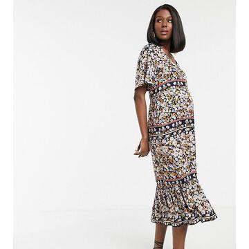 Mamalicious Maternity smock midi dress in mixed paisley-Multi