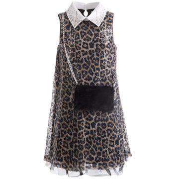 Big Girls Sequined Cheetah-Print Dress & Faux-Fur Purse