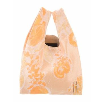 Floral Canvas Handle Bag Orange