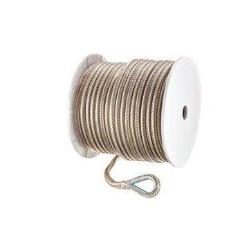 Seachoice 42381 Double-Braid Nylon Anchor Line Gold and White 1/2 Inch x 200 Feet