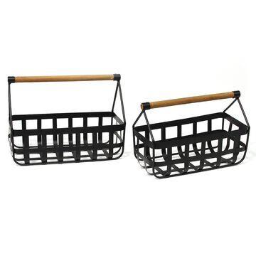 Stratton Home Decor Farmhouse Decorative Basket 2-piece Set