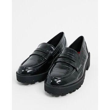 London Rebel chunky loafers in black