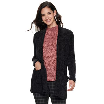 Women's Apt. 9 Chenille Open Front Ribbed Cardigan