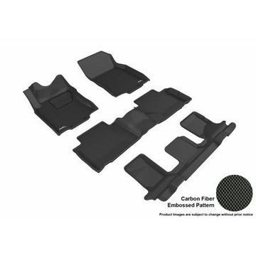 3D MAXpider 2014-2018 Nissan Rogue Front, Second, &Third Row Set All Weather Floor Liners in Black with Carbon Fiber Look