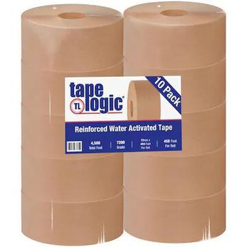 Tape Logic #7200 Reinforced Water Activated Tape, 72mm x 450, Kraft, 10/Case (T9077200) | Quill
