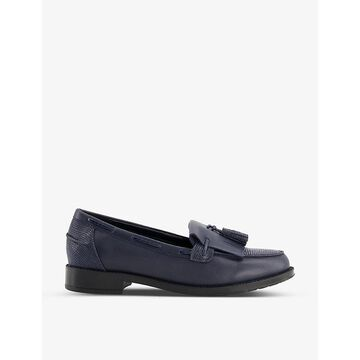 Dune Womens Navy-leather MIX Kilted Tassel-embellished Leather Loafers 8