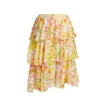 Marchesa Notte Asymmetrical Triple Tiered Burnout Chiffon Skirt