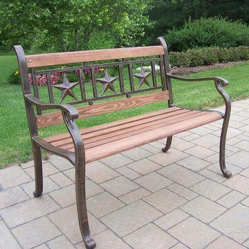 Oakland Living Triple Star Bench - Antique Bronze