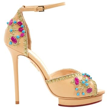 Charlotte Olympia Beige Leather Heels