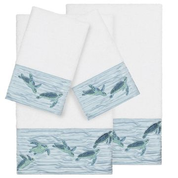 Authentic Hotel and Spa Turkish Cotton Turtles Embroidered White 4-piece Towel Set