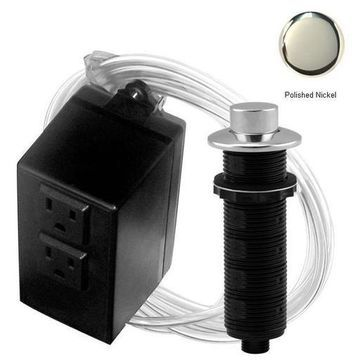 Westbrass ASB-2-RB-05 Raised Button Air Switch and Dual Outlet Box - Polished Nickel