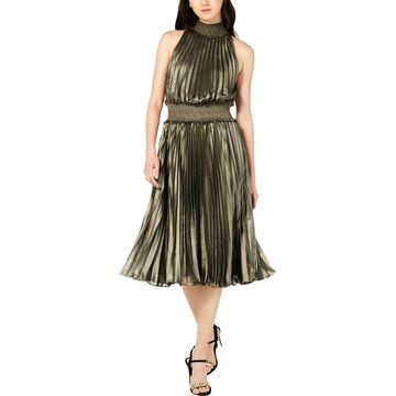 Avec Les Filles Womens Smocked Pleated Midi Dress