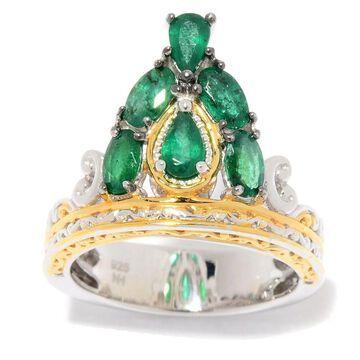 Michael Valitutti Palladium Silver Zambian Emerald Tiara Ring