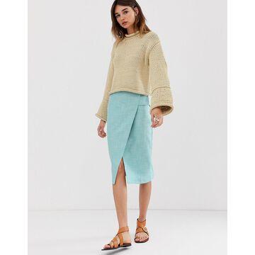 ASOS WHITE tab detail wrap skirt-Blue