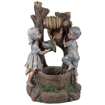 Pure Garden 'Children at the Well Water' Antique Design Resin Lighted Outdoor Fountain