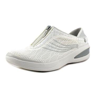 BZees Womens Fancy Fabric Low Top Zipper Fashion Sneakers, White, Size 6.5