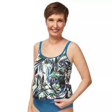 Women's Amoena Modern Jungle UPF 50 Swim Blouson Top, Size: 8C, Blue
