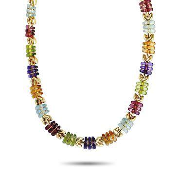 Bvlgari Yellow Gold Multi Gemstone Collar Necklace